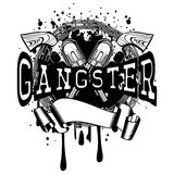 Revolvers gangster. Vector illustration two crossed revolvers and inscription gangster. Frame of barbed wire. For tattoo or t-shirt design Royalty Free Stock Photo