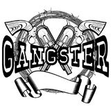 Revolvers gangster. Vector illustration two crossed revolvers and inscription gangster. Frame of barbed wire. For tattoo or t-shirt design Stock Images