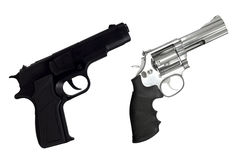 Revolvers gun and black semi-automatic gun isolated on white Stock Photo