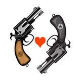 Revolvers. Hand drawing of classic hand guns Stock Photo