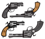 Revolvers. Hand drawing of classic hand guns Stock Image