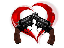 Revolvers and hearts. Two revolvers and red glass heart vector illustration