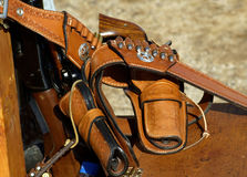 Revolvers in holsters. Revolvers used in a cowboy shoot competition Royalty Free Stock Images