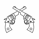 Revolvers icon, outline style. Revolvers icon in outline style isolated on white background Stock Photo