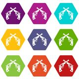 Revolvers icon set color hexahedron. Revolvers icon set many color hexahedron isolated on white vector illustration Royalty Free Stock Photos