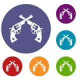 Revolvers icons set. In flat circle reb, blue and green color for web Royalty Free Stock Photography