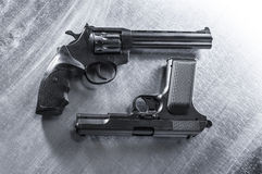 Revolvers and pistols. Royalty Free Stock Photos