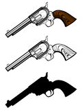 Revolvers var 1. Vector illustration revolvers set. Color, black and white and silhouette pistols Stock Image