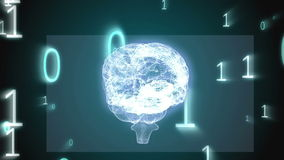 Revolving brain graphic with binary code animation stock video footage