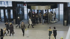 The revolving door at the entrance to the mall