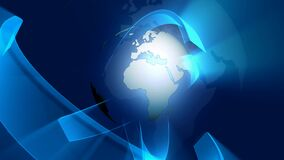 Revolving Earth Blue Banners. Video of Revolving Earth Blue Banners stock video footage