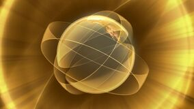 Revolving earth model with abstract yellow overlay. Video of Revolving earth model with abstract yellow overlay stock video