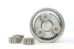 Revolving mechanism. Gears revolving inside of internal gear Stock Photos