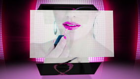 Revolving screens showing fashion situations stock video footage