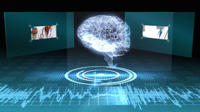 Revolving transparent human brain graphic with interface stock video footage