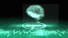 Revolving transparent human brain graphic with interface. On green background