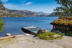 Revsvatnet boat house and dock Stock Image