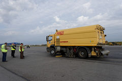 Revue annuelle annuelle d'équipement d'aéroport dans Pulkovo, St Petersburg, Russie Image libre de droits