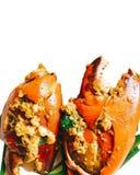Revuelva el cangrejo con el polvo de curry en blanco aislado imagen de archivo