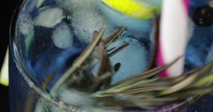 Revuelva la bebida fr?a con el lim?n, el romero, los cubos de hielo y la grosella negra en un vidrio metrajes