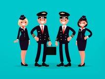 Ð-¡ rew av ett kommersiellt flygplan Piloter och flygvärdinnor Ve Royaltyfria Bilder
