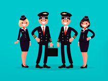 Сrew of a commercial aircraft. Pilots and flight attendants. Ve. Ctor illustration of a flat design Royalty Free Stock Images