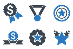 Reward Flat Glyph Icons. Reward glyph icons. Icon style is bicolor smooth blue flat symbols with rounded angles on a white background Royalty Free Stock Photos