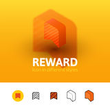 Reward icon in different style. Reward color icon, vector symbol in flat, outline and isometric style  on blur background Royalty Free Stock Image