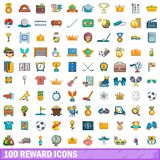 100 reward icons set, cartoon style. 100 reward icons set. Cartoon illustration of 100 reward vector icons isolated on white background stock illustration
