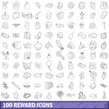 100 reward icons set, outline style Stock Images