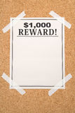Reward poster. Close up shot Stock Photo