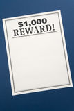 Reward poster Stock Image