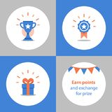 Win super prize, reward program, winner cup, first place bowl, achievement and accomplishment concept, flat icon. Reward program, winner cup, first place bowl Stock Images