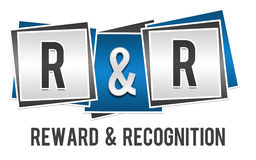 Reward And Recognition Blue Grey Blocks Stock Image