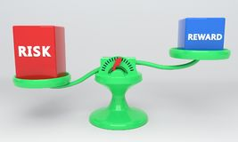 Reward and risk scales, 3d. Render Royalty Free Stock Photo