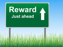 Reward road sign on the sky background. Royalty Free Stock Image