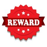 Reward seal. Vector illustration of reward seal red star on isolated white background stock illustration