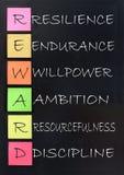 Reward, success acronym. Reward acronym handwritten on a blackboard Stock Images