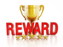 Reward text and gold cup Stock Image
