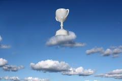 Reward trophy on a cloud. Fantasy illustration of a trophy reward for skyhihg success stock illustration