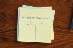 Reward vs punishment written on a note royalty free stock images