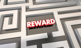 Reward Work Finished Incentive Maze. 3d Illustration Stock Images
