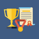 Rewards, achievements, awards concept. Flat design. Stock Photos