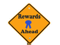 Rewards ahead sign isolated Stock Photo