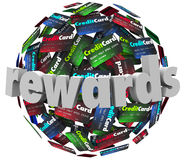 Rewards Credit Card Customer Loyalty Program Points. Rewards word on credit cards to illustrate a customer reward loyalty program that awards you points on Stock Photography