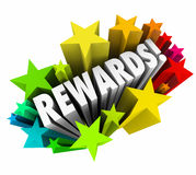 Rewards 3d Word Stars Prize Incentive Bonus Enticement. Rewards word in colorful stars illustrating a reward, bonus, prize, enticement or incentive for good Stock Image