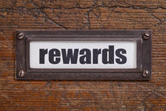 Rewards- file cabinet label Stock Photography