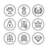 Rewards and prizes line icons on white. Eps 10 file, easy to edit Royalty Free Stock Photos