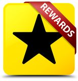 Rewards (star icon) yellow square button red ribbon in corner Royalty Free Stock Images