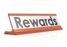 Rewards table tag Stock Image